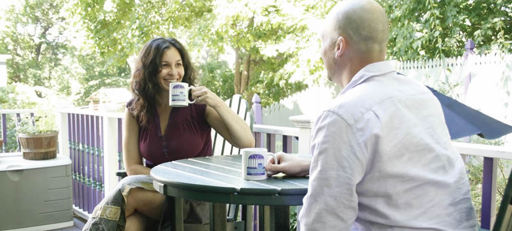 coffee on the deck of the inn with jessica and friend